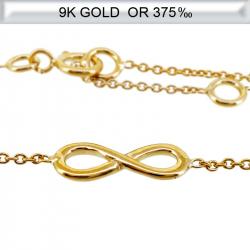 Bracelet infini en Or 9 carats