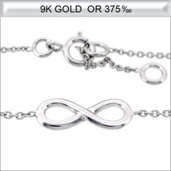Bracelet infini en Or blanc 9 carats