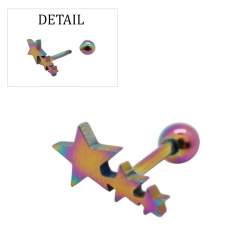"""Piercing tragus/helix """"stars"""" acier petrole 1"""
