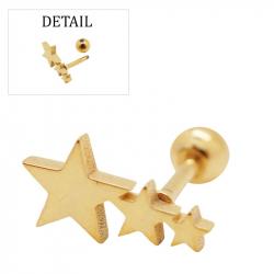 "Piercing tragus/helix ""stars"" acier pvd gold 1"