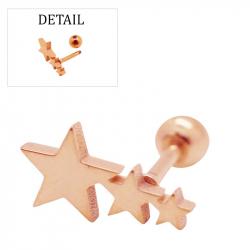 "Piercing tragus/helix ""stars"" acier pvd rose gold 1"