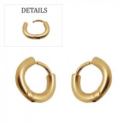Boucles d'oreilles créoles fines pvd gold acier