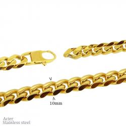 """Chaine en acier pvd gold """"gourmette"""" 80cm (largeur 10mm)"""