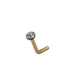 Piercing nez en acier L316 PVD Or avec cristal ø 2mm
