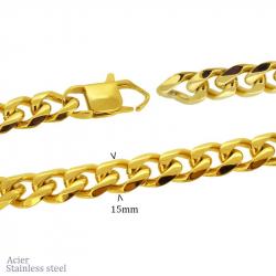 """Chaine en acier pvd gold """"gourmette"""" 80cm (largeur 15mm)"""