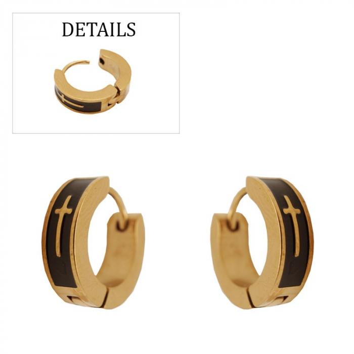Boucles d'oreilles créoles pvd gold and black avec croix acier