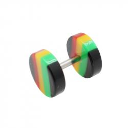 Faux plug acier et acrylic rasta 1