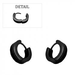 Boucles d'oreilles créoles épaisses acier pvd black