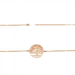 """Bracelet """"arbre de vie"""" en pvd rose gold acier"""