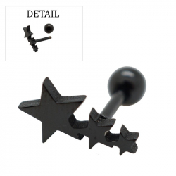 "Piercing tragus/helix ""stars"" acier pvd black 1"