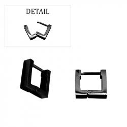 Boucles d'oreilles créoles carrées pvd black acier