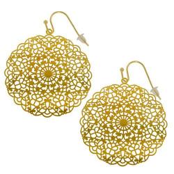 Boucles d'oreilles filigrane dorées modèle mandala papillon