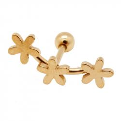 "Piercing tragus/helix ""flower"" acier pvd gold 1"