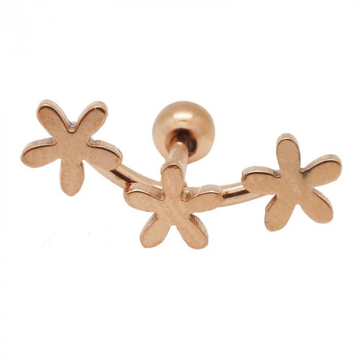 "Piercing tragus/helix ""flower"" acier pvd rose gold 1"