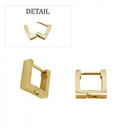 Boucles d'oreilles créoles carrées pvd gold acier