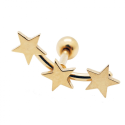 "Piercing tragus/ helix ""big stars"" acier pvd gold 1"