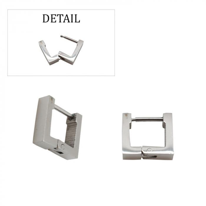 Boucles d'oreilles créoles carrées acier