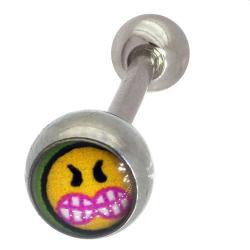 Piercing langue acier smiley 1