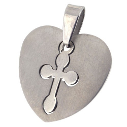 Pendentif cœur avec croix en acier