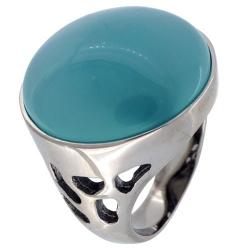 Bague acier avec pierre bleue