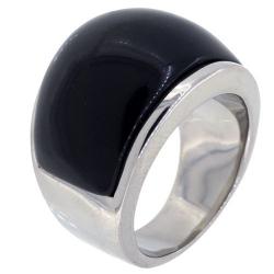 Bague acier black stone
