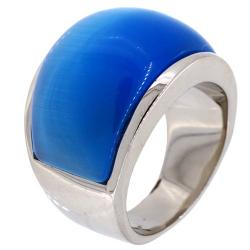 Bague acier blue stone
