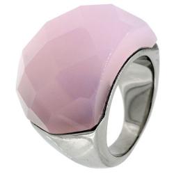 Bague acier pierre rose à facettes