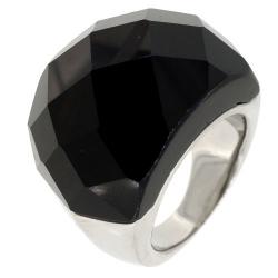 Bague acier pierre noire  à facettes