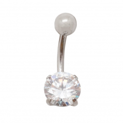 Piercing nombril en acier avec cubic de zirconium rond 1