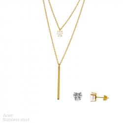 Parure collier et boucles d'oreilles en acier pvd gold diams avec cœur