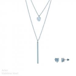 Parure collier et boucles d'oreilles en acier diams avec cœur