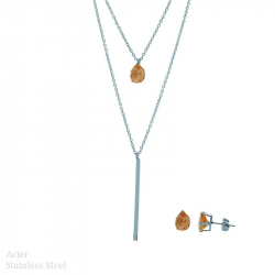 Parure collier et boucles d'oreilles en acier goutte avec diams orange