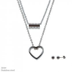 Parure collier et boucles d'oreilles en acier deux rang avec cœur