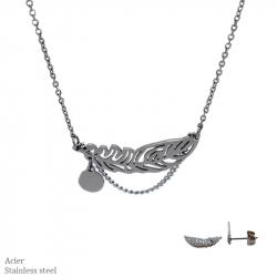 Parure collier et boucles d'oreilles en acier avec plumes