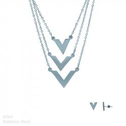 """Parure collier et boucles d'oreilles en acier trois rangs """"V"""""""