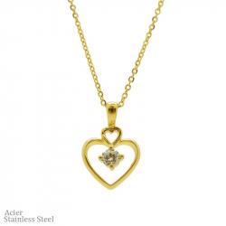 Collier en acier pvd gold avec pendentif cœur et diams 45cm