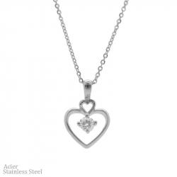 Collier en acier avec pendentif cœur et diams 45cm