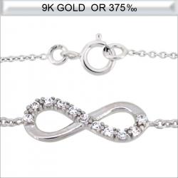 Collier infini en Or blanc 9 carats avec zirconium