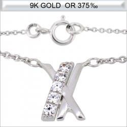 Collier en Or blanc 9 carats avec zirconium