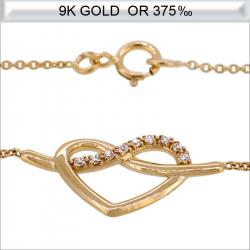 Collier cœur en Or 9 carats avec zirconium