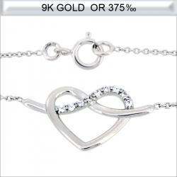 Collier cœur en Or blanc 9 carats avec zirconium