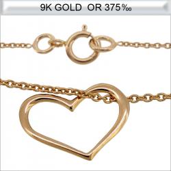Collier cœur en Or 9 carats