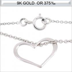 Collier cœur en Or blanc 9 carats